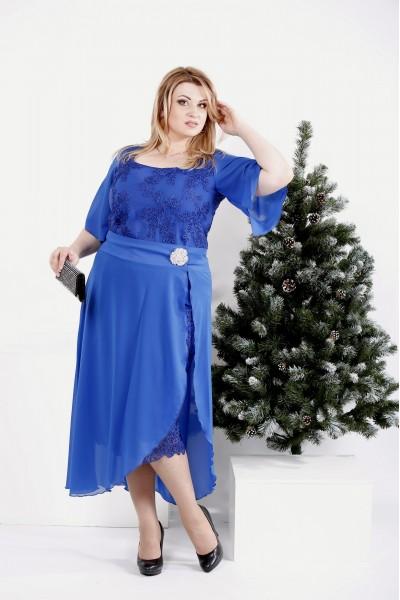 Фото Платье со съемной юбкой электрик   0973-1