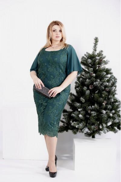 Фото Зеленое платье с вышивкой и съемной юбкой   0973-2