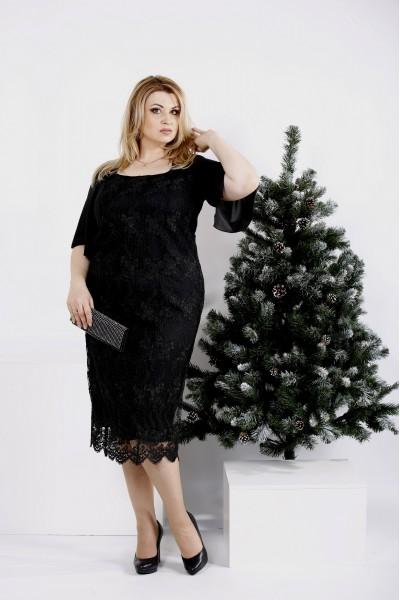 Фото Черное нарядное платье (в комплекте съемная юбка)   0973-3