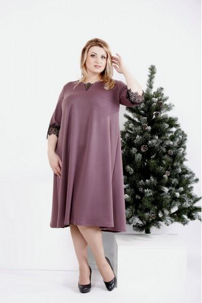 Фото Свободное платье бисквитного цвета   0974-3