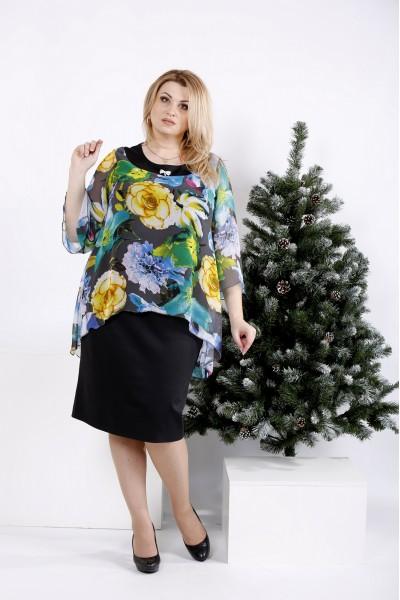 Фото Черное платье с разноцветными цветами | 0978-2