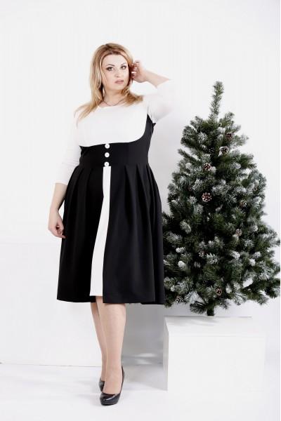 Фото Черное-белое платье с пышной юбкой | 0980-1