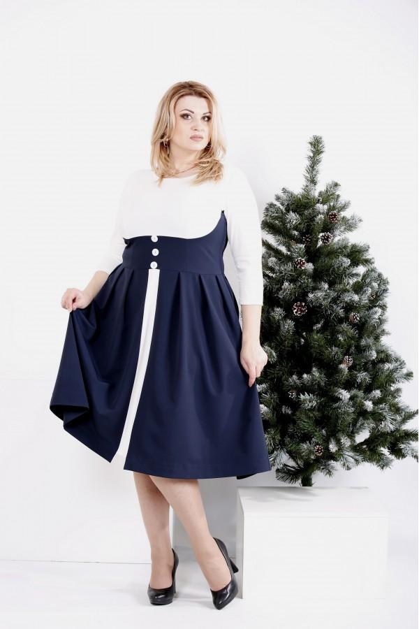 Фото Белое с синим платье с расклешенной юбкой | 0980-2