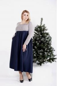 Фото Синее расклешенное платье ниже колена   0986-2