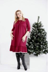 Фото Бордовое платье с кружевом | 0987-3