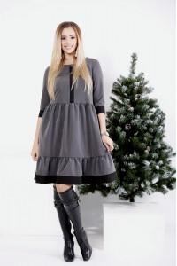 Фото Серое оригинальное платье с отрезной талией | 0988-2