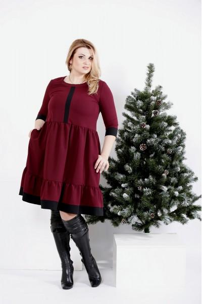 Фото Бордовое платье из вискозы   0988-3