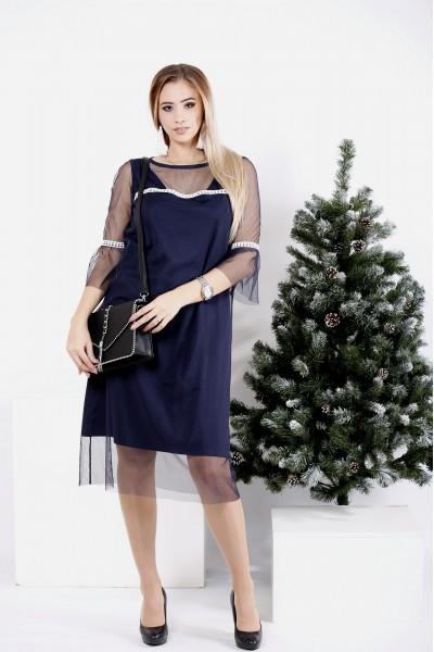Фото Синее трикотажное платье с сеткой | 0989-1