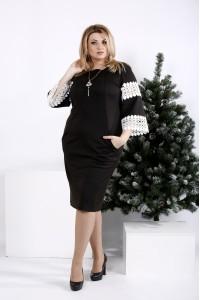 Фото Черное платье с белым кружевом | 0990-1