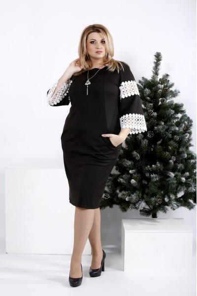 Фото Чорна сукня з білим мереживом | 0990-1