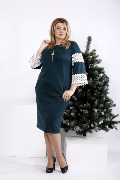 Фото Зелена сукню з мереживними рукавами | 0990-3