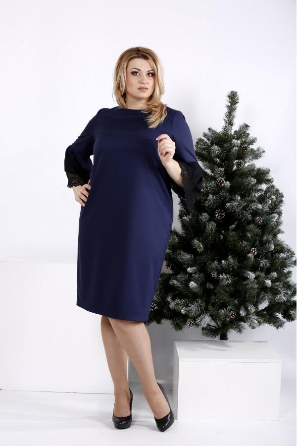 Фото Синє просте і елегантне плаття | 0991-2