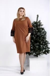 Фото Вискарное платье с кружевом на рукавах | 0991-3