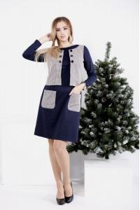 Фото Синее платье с имитацией жилетки | 0994-1
