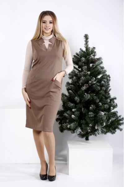 Фото Бежевое стильное платье из трикотажа | 01000-1 (на блузке 01001-1)