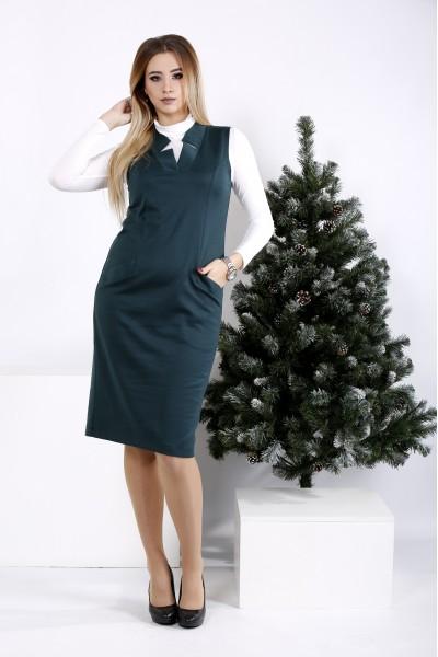 Фото Зеленое платье с вырезом | 01000-3 (на блузке 01001-3)