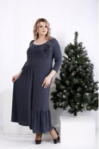 Фото Длинное расклешенное платье джинс   01003-1