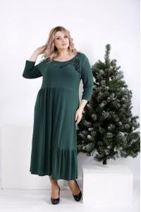 Фото Зеленое платье джерси с узором   01003-2