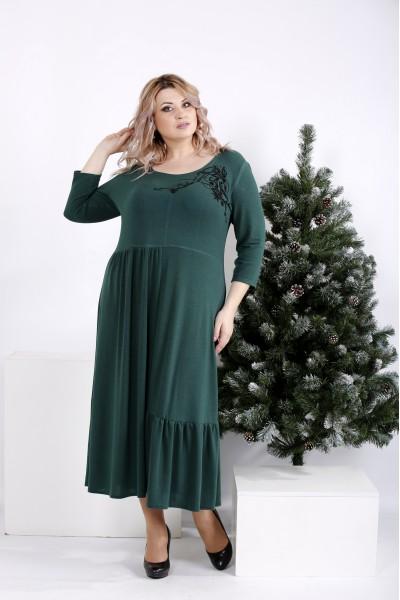 Фото Зеленое платье джерси с узором | 01003-2