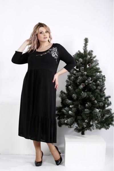Фото Черное платье клеш | 01003-3
