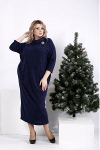 Фото Синее платье свободного кроя с воротником | 01005-1