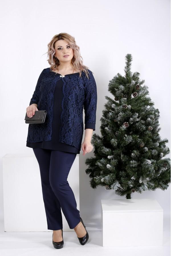 Фото Синий костюм: Нарядная блузка и брюки | 01006-1