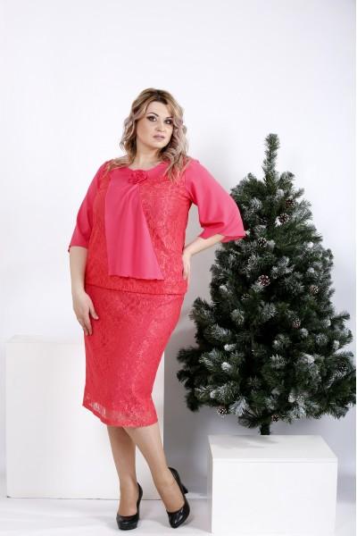 Фото Насыщенное коралловое платье с гипюром | 01007-1