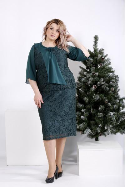 Фото Нарядное зеленое платье из гипюра   01007-3