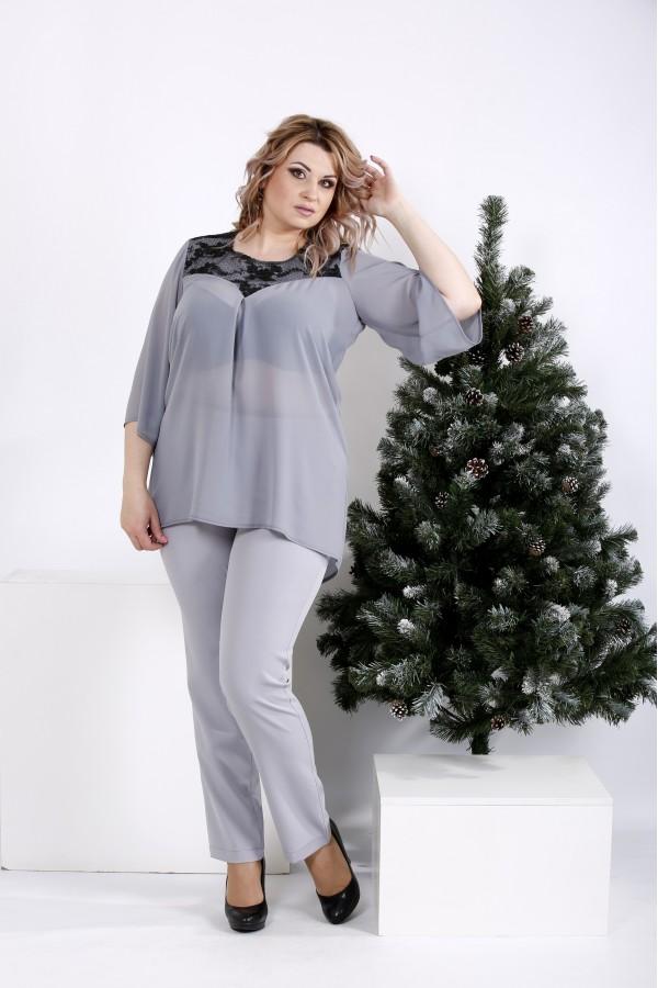 Фото Костюм: серая блузка и брюки   01008-3