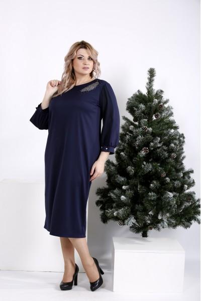 Фото Стильное синее платье с длинным рукавом   01009-1