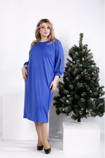 Фото Яркое платье прямого кроя цвета электрик   01009-2