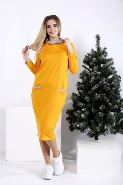 Фото Яркое горчичное платье с карманами   01011-1