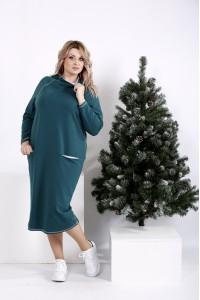 Фото Прямое зеленое платье с воротником | 01011-2