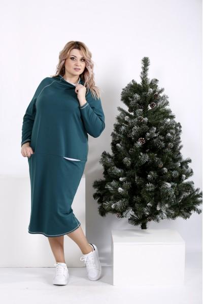 Фото Прямое зеленое платье с воротником   01011-2