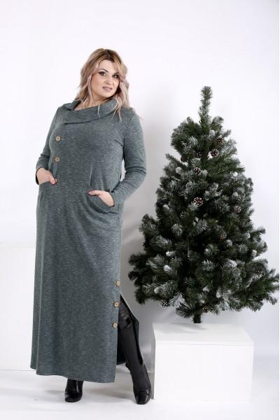 Фото Зеленое платье с пуговицами   01012-1