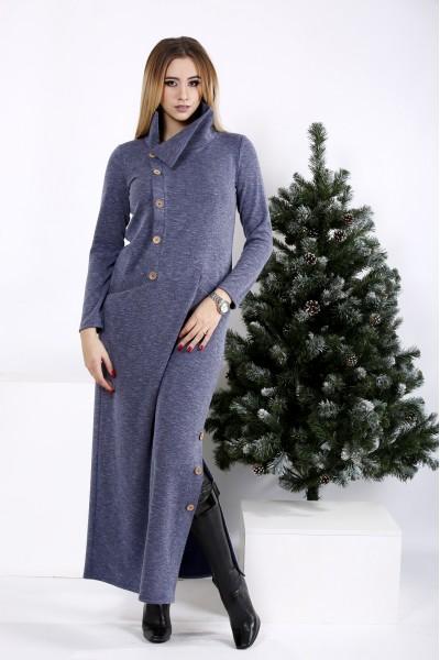 Фото Длинное платье цвета джинс с разрезом  | 01012-2