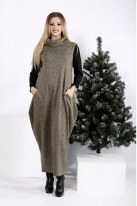 Фото Горчичное длинное платье мешок с воротником | 01015-1