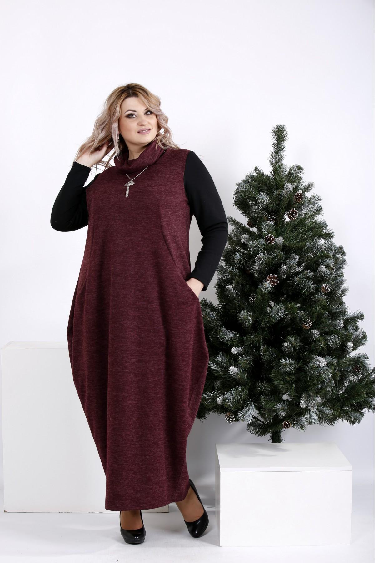 Купити Зимове плаття мішок кольору баклажан  010b51f80a8ee