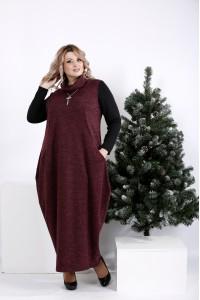 Фото Зимнее платье мешок цвета баклажан | 01015-2