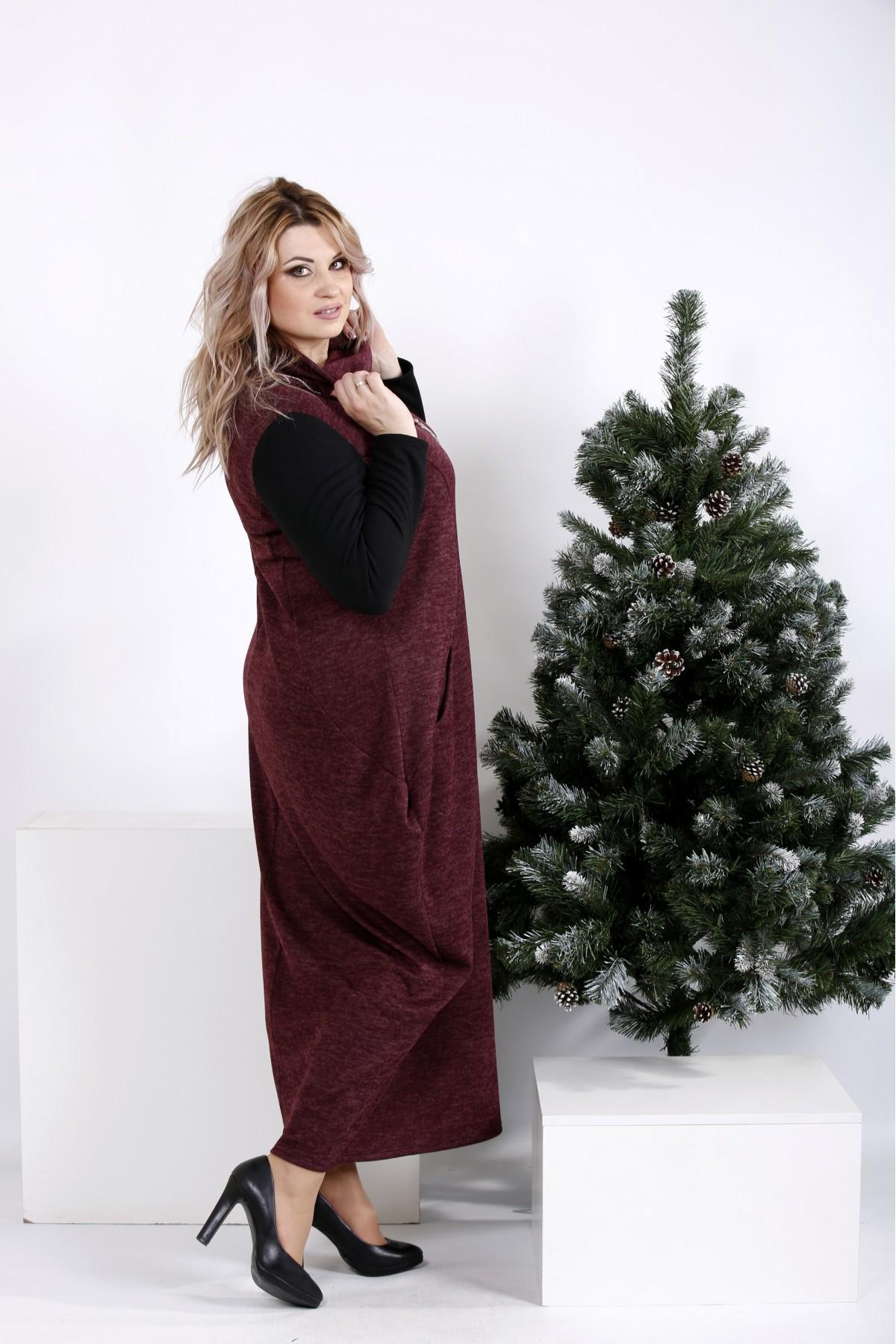 ... Фото Зимове плаття мішок кольору баклажан  84b65e43a5bbb