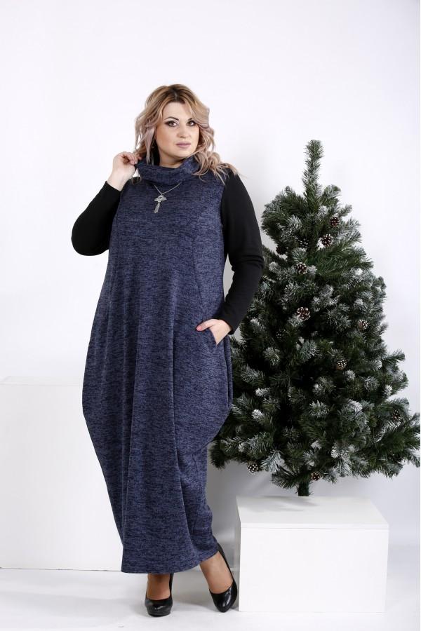 Фото Длинное платье мешок синего цвета с воротником  | 01015-3