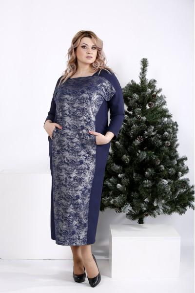Фото Длинное платье синего цвета с узором   01016-1