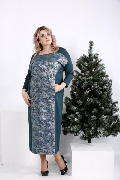Фото Стильное зеленое платье с блестящей вставкой | 01016-2