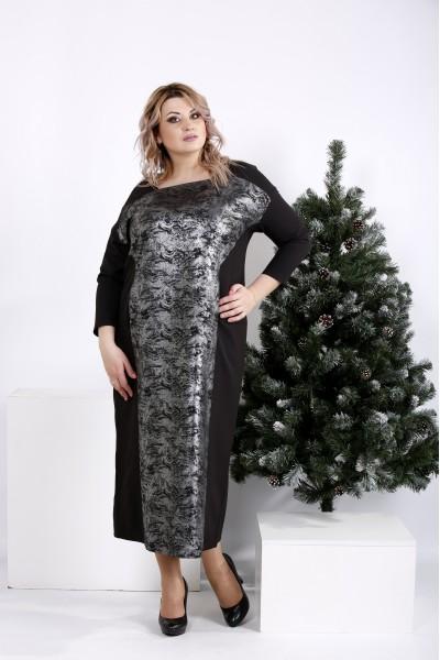 Фото Элегантное черное платье макси с узором | 01016-3
