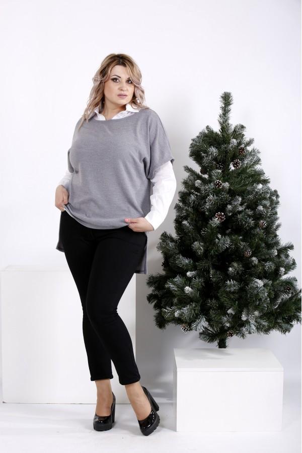 Фото Рубашка в комплекте с серой кофтой  | 01018-3 (на фото с джинсами j043)