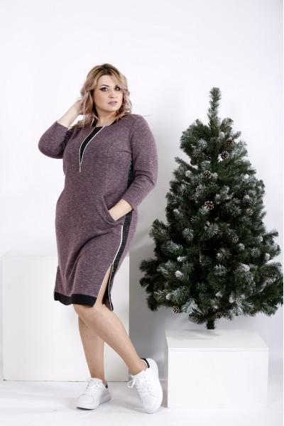 Фото Платье цвета баклажан с карманами   01020-1