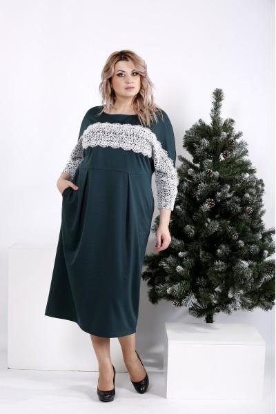 Фото Трикотажное зеленое платье свободного кроя | 0997-2