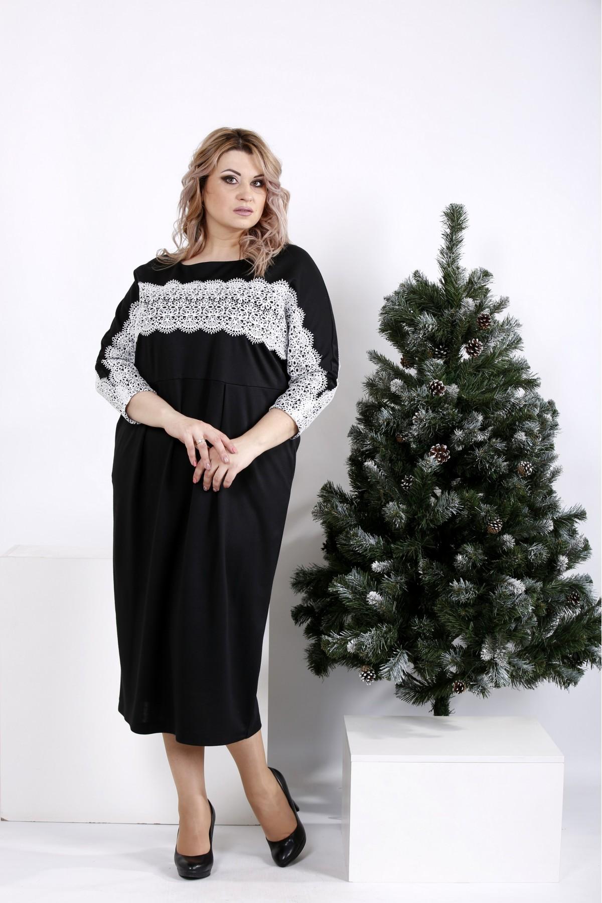 1dca8b536aaf53 Купити Ошатне чорне плаття з білим мереживом | 0997-3 недорого ...