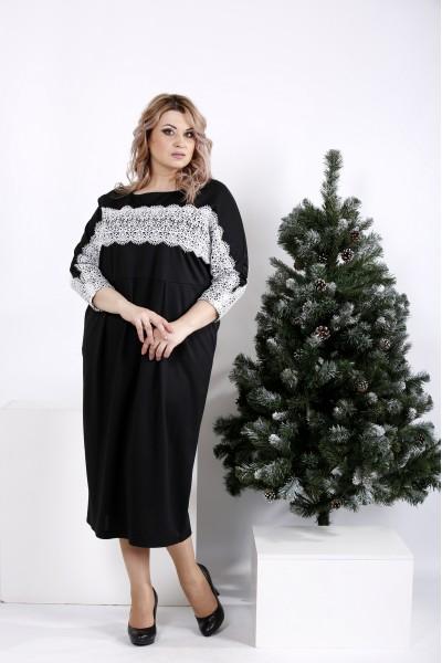 Фото Нарядное черное платье с белым кружевом | 0997-3