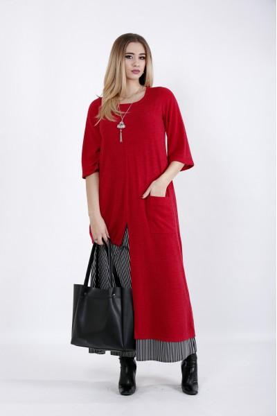 Фото Красное длинное платье | 01022-1